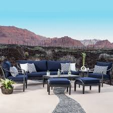 Patio Table And Chair Sets Astoria 8 Piece Sofa And Club Chair Set In Navy Blue 4 699 99