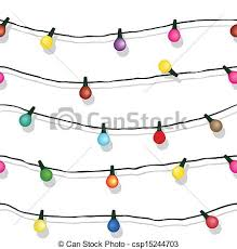 vector clipart of seamless string of christmas lights isolated on