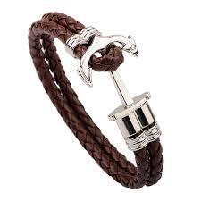 fashion charm leather bracelet images Byspt new fashion charm leather anchor bracelets for men popular jpg