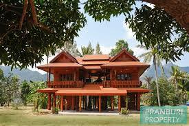 Thailand House For Sale Newly Built Thai Style Teak Wood House On 5 Rai Plot Near Beach