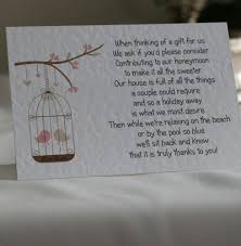 wedding poem cards money cash gift choice of 4 poems birdcage