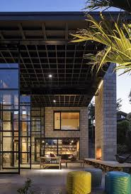 double height living spaces add drama to this industrial style house
