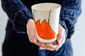 Fox Mug by Brookwood Pottery Fox Mug Handmade Irish Pottery Orange Fox
