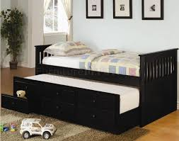 Modern Daybed With Trundle Black Finish Contemporary Daybed W Trundle Storage Drawers