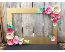 photo booth frames marco floral de oro de prop de la cabina de foto con flores 3d