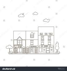 outline vector flat line illustration small stock vector 443671915