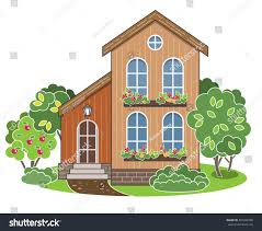 two storey house cozy family house facade view vector stock vector 397044790