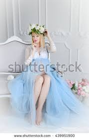 beautiful pregnant woman light blue dress stock photo 439951930