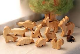 carved wooden animals set of 10 waldorf inspired via etsy