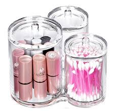 Bathroom Canisters Amazon Com Bekith 3pc Acrylic Cotton Ball And Swab Holder Home