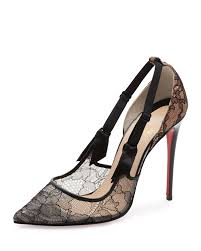 christian louboutin jeanbi lace 100mm red sole pump version