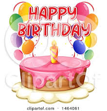 clipart of a happy birthday cake with balloons royalty free