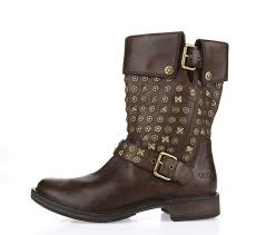 womens leather motorcycle boots australia ugg conor 1003605 womens shoes brown studded leather motorcycle