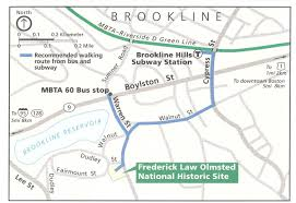 Green Line Map Boston by Directions Frederick Law Olmsted National Historic Site U S