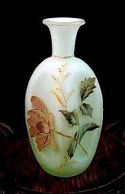 Victorian Glass Vase Signed Antique Victorian Bohemian Riedel Cased Vaseline Enamel Art