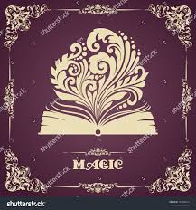 vintage template ornament opened magic book stock vector 195349814