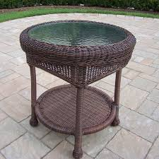 round wicker end table shop oakland living resin wicker 21 5 in w x 21 5 in l round steel