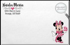 minnie mouse birthday invitation envelope 217env custom