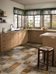 Grey Tile Laminate Flooring White Wall Paint Decoration With Brown Cabientry Also Grey Granite