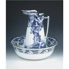 Inky Blue The Six Swans U0027 An Edwardian Royal Doulton Jug And Bowl Printed In