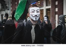 Anonymous Halloween Costume Anonymous Million Mask March Amsterdam Stock Photo Royalty Free