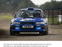 subaru sti rally car first subaru impreza world rally car up for sale by prodrive
