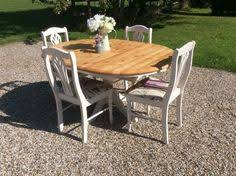 round pine dining table shabby chic solid pine round dining table and 4 chairs picture 3