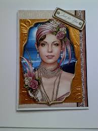 art deco lady a5 birthday card