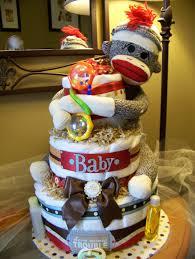 neutral sock monkey diaper cake diaper cakes pinterest