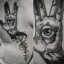 ascension tattoo vulcan salute with vulcan writing tattoo artist uncle trashcan