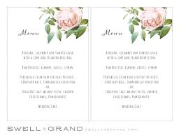 pages menu template printable wedding menu template instant vintage