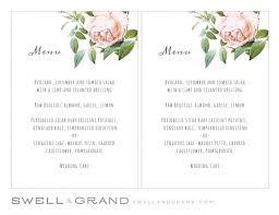 pages menu template printable wedding menu template instant vintage