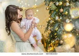 Mother Daughter Christmas Ornaments Happy Family Mother Infant Baby Daughter Stock Photo 567283453
