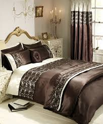 classic bedroom design with brown lace duvet cover set small hanging white chandelier small