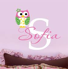 Owl Wall Sticker Owl Decals Name Wall Decal Childrens Vinyl Wall Decal
