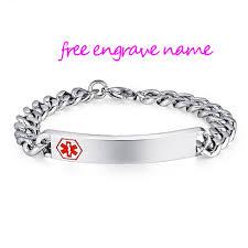 engravable id bracelet stainless steel id bracelet men woman alert id bracelets for