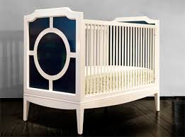modern baby cribs with simple white and dark blue color idea