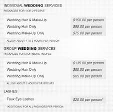 bridal hair prices prices for wedding makeup wedding corners