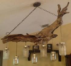 Canning Jar Lights Chandelier Driftwood Mason Jar Chandelier This Is So Cool Love The Earthy
