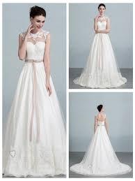 illusion neckline lace appliques a line wedding dress with keyhole