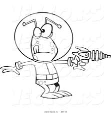 vector of a cartoon alien invader pointing a ray gun coloring