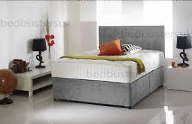 Divan Bed Set Grey Chenille Divan Bed Set Memory Mattress Headboard 3ft 4ft6