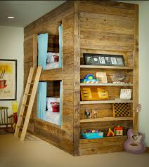 Unique Boys Bunk Beds Wooden Nursery Design With Decoratif Shelf And Picture Frame