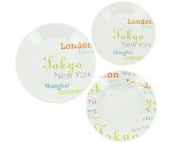 assiette de porcelaine service de table 18 assiettes porcelaine new york paris londres 3577