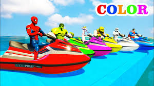 learn colors jetski u0026 mountain bikes with superheroes cartoon for