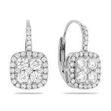 leverback diamond earrings 14k white gold lever back earrings with cushion diamond cluster