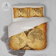 Indie Duvet Covers Vintage Map Bedding Vintage Old Map Duvet Cover Old Map Antique