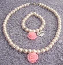 flower necklace set images Flower girl jewelry rose flower necklace rose flower bracelet jpg