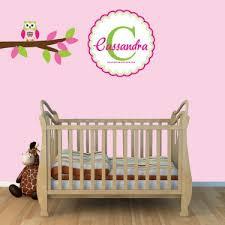 Wall Name Decals For Nursery Custom Monogram Wall Decals Nursery With Owl Wall Decor For