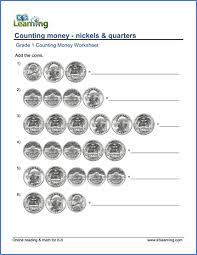 grade 1 math worksheet counting money nickels and quarters k5